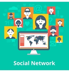 Social network icons composition poster vector image