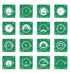 speedometer icons set grunge vector image