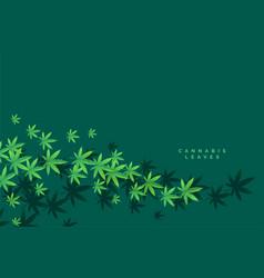 stylish marijuana and cannbis floating leaves vector image