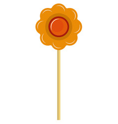 Sweet flower shaped lollipop candy on white vector