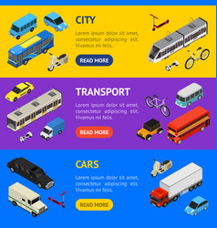 transport car 3d banner horizontal set isometric vector image