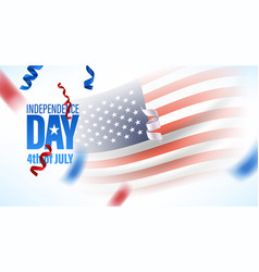 usa independence day greeting card with flag ans vector image