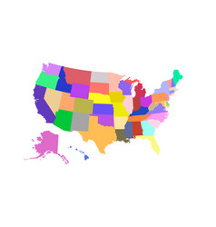 Usa state map colored vector