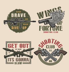 vintage military colorful prints set vector image