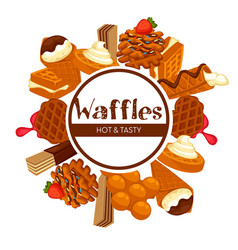 Waffles and ice cream isolated emblem topping vector