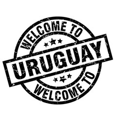 Welcome to uruguay black stamp vector