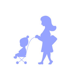 Woman and child in trolley walking silhouette vector
