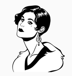 women hairstyle fashion retro 20 years vector image