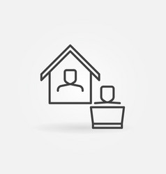 working from home outline concept minimal vector image