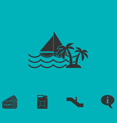 Yacht icon flat vector
