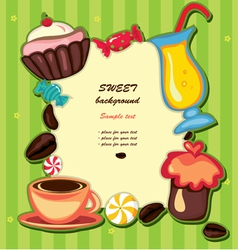 cupcake and sweets frame vector image vector image