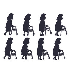 elderly woman with walking frame vector image