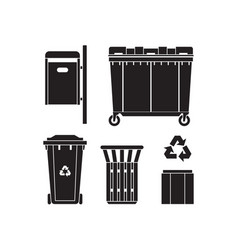 garbage bins and trashcans icons vector image
