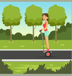 Young sportive girl riding on scooter in the par vector