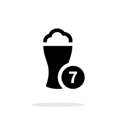 Beer glass with number simple icon on white vector image