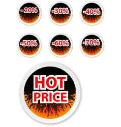 Hot price stickers with fire flame vector image
