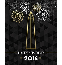 New Year 2016 washington USA travel monument gold vector image vector image