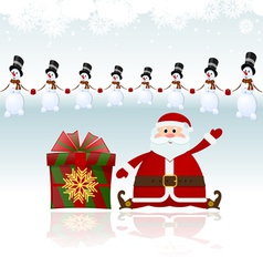 Santa Claus sitting with gifts and snowman vector image