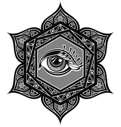 tattoo mandala with eye vector image vector image