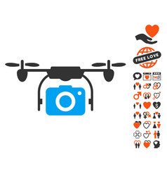 camera drone icon with lovely bonus vector image vector image