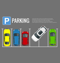 city parking lot with a set of vector image vector image