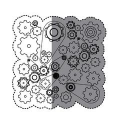 contour gears symbols icon vector image
