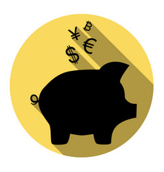piggy bank sign with the currencies flat vector image