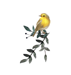 small cute bird on branch with leaves vector image vector image