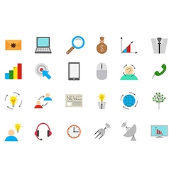 Business communication icons set vector image
