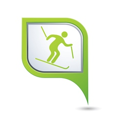 downhill skiing icon green map pointer vector image vector image