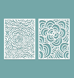 set of laser cut pattern panel templates wood or vector image vector image