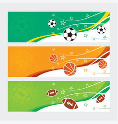 sports banners - soccer football and basketball vector image