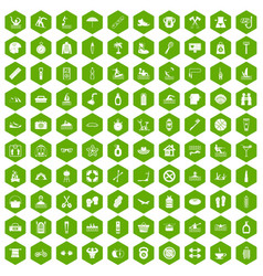 100 human health icons hexagon green vector