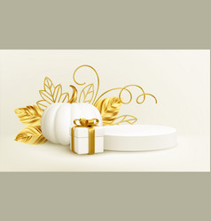 3d realistic white gold pumpkin with golden leaves vector