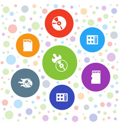 7 compact icons vector