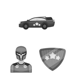 A fantastic superhero monochrome icons in set vector