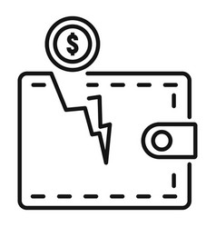Bankrupt wallet icon outline style vector