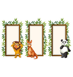 banner template with three wild animals vector image