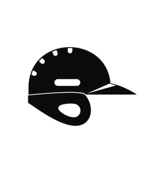 Baseball helmet black simple icon vector