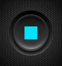 Black button with blue stop sign on carbon vector