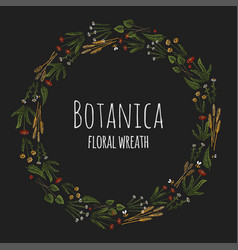 Botanica floral - dark stylized colorful wreath vector