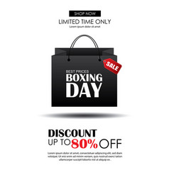 boxing day sale with shopping bag advertising vector image