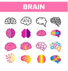 Brain neurology organ linear icons set vector