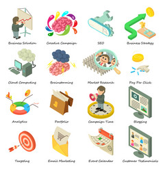 Business icons set isometric style vector