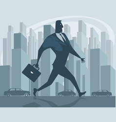 Businessman going in city vector