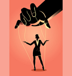 Businesswoman being controlled puppet master vector