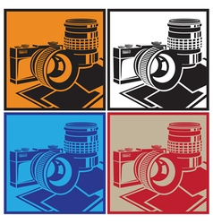 Camera and lenses vector