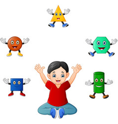 cartoon boy with germs and bacteria icons vector image