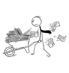 cartoon of businessman or clerk pushing vector image