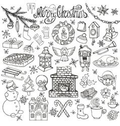Christmas season doodle iconssymbolslinear vector